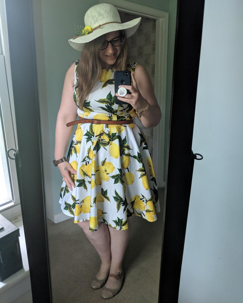 Super cute lemon a-line dress I bought from Amazon.