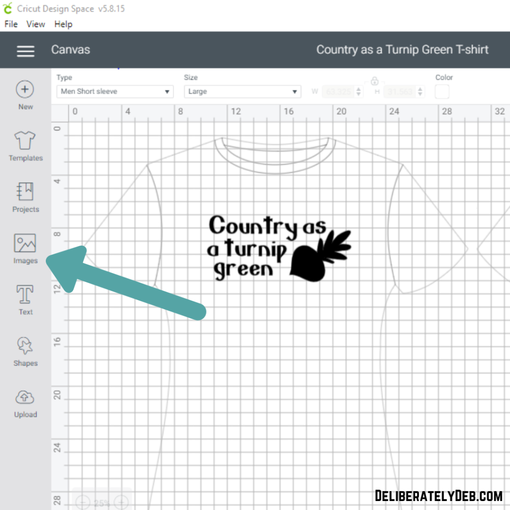 Add images to your custom designed t-shirt in cricut design space