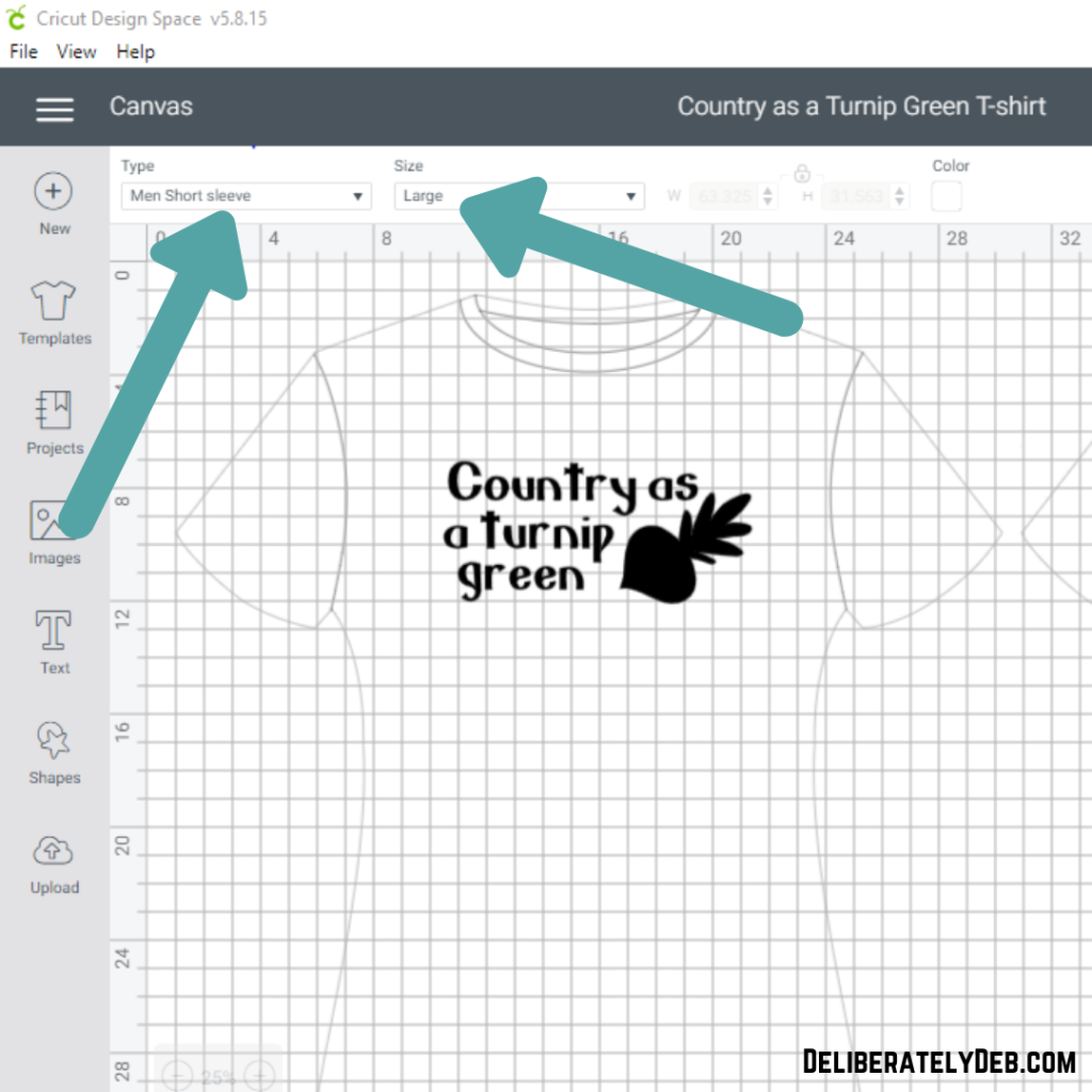 T-shirt template for cricut maker in design space
