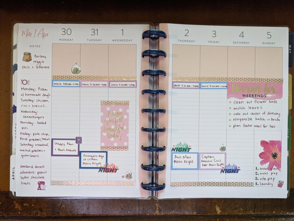 30 minutes on Mondays and so glad I'm still using my happy planner during the COVID-19 lockdown